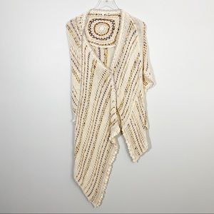 ANTHROPOLOGIE Moth Crochet Wrap Shawl Cream Boho
